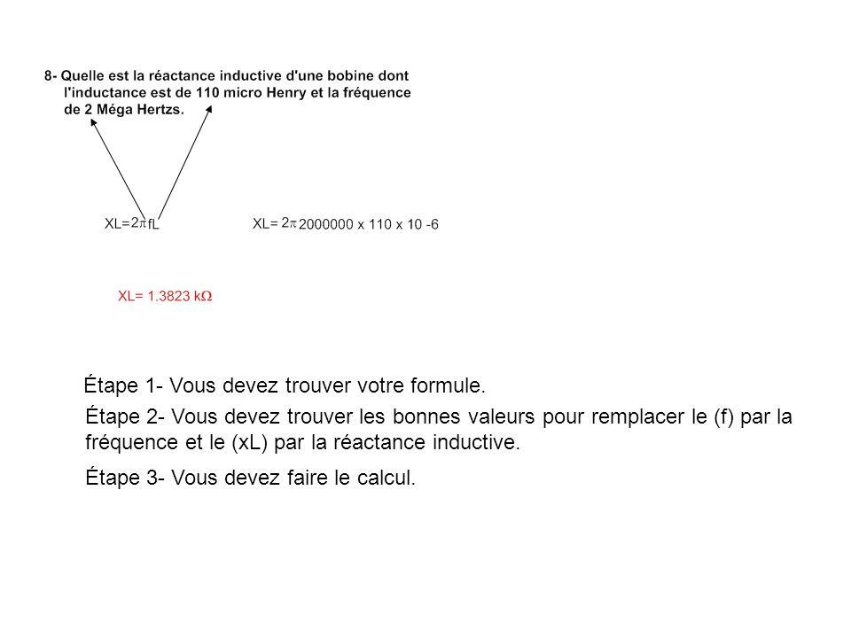 Étape 1- À partir de la valeur efficace Trouver la valeur crête en utilisant les bonnes formules.