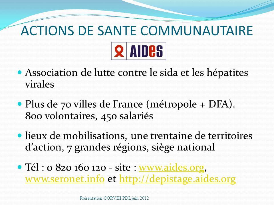 Association de lutte contre le sida et les hépatites virales Plus de 70 villes de France (métropole + DFA).