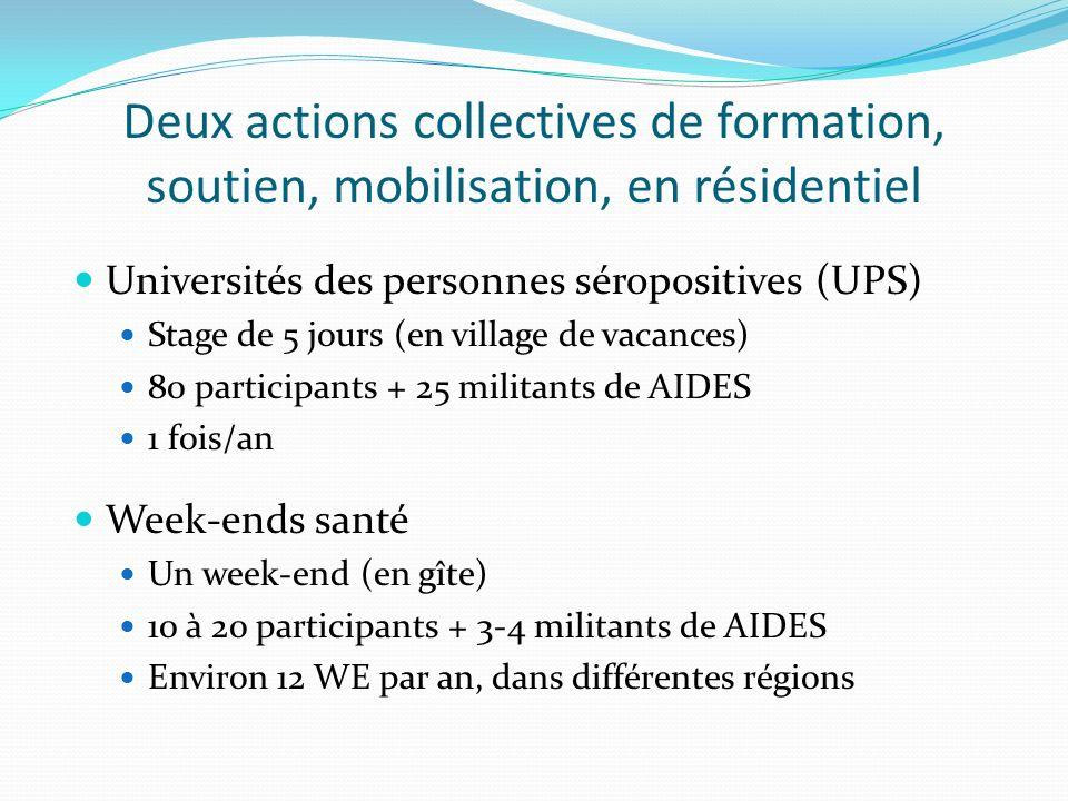 Deux actions collectives de formation, soutien, mobilisation, en résidentiel Universités des personnes séropositives (UPS) Stage de 5 jours (en village de vacances) 80 participants + 25 militants de AIDES 1 fois/an Week-ends santé Un week-end (en gîte) 10 à 20 participants + 3-4 militants de AIDES Environ 12 WE par an, dans différentes régions