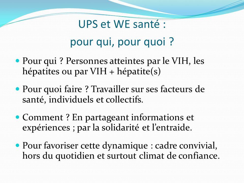 UPS et WE santé : pour qui, pour quoi . Pour qui .
