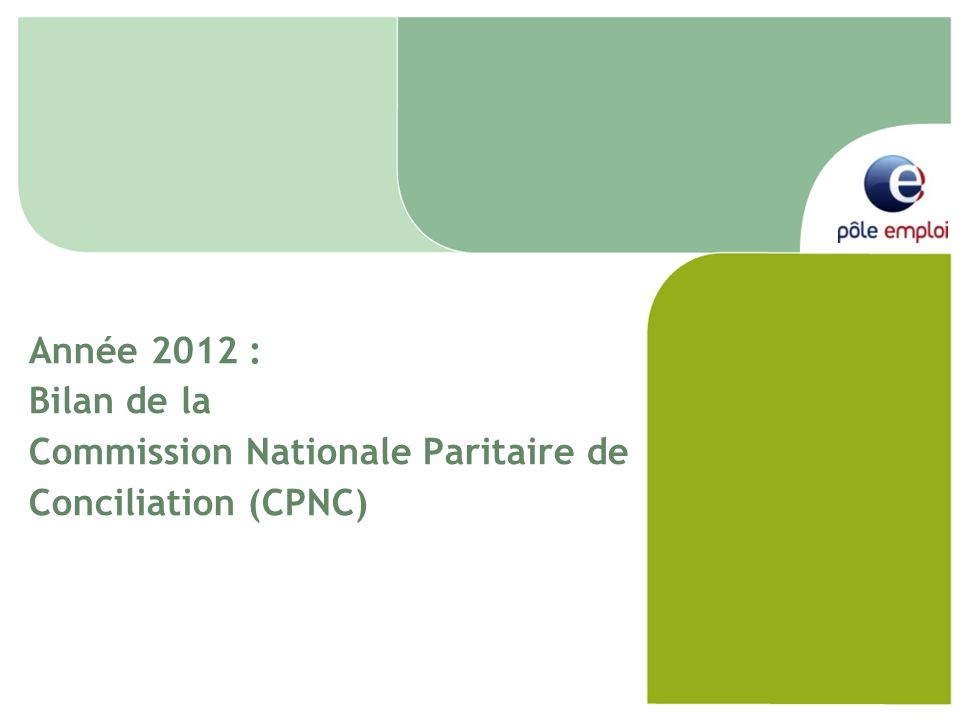 Année 2012 : Bilan de la Commission Nationale Paritaire de Conciliation (CPNC)