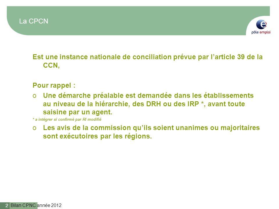 Bilan CPNC année 2012 2 La CPCN Est une instance nationale de conciliation prévue par larticle 39 de la CCN, Pour rappel : oUne démarche préalable est