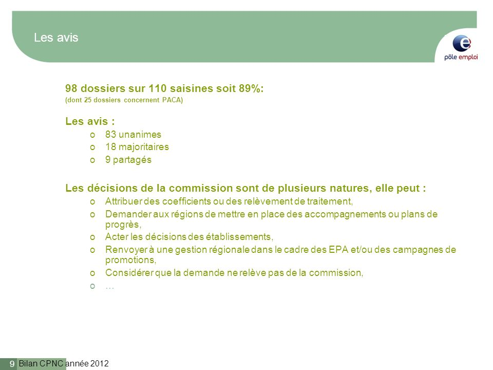 Bilan CPNC année 2012 9 Les avis 98 dossiers sur 110 saisines soit 89%: (dont 25 dossiers concernent PACA) Les avis : o83 unanimes o18 majoritaires o9