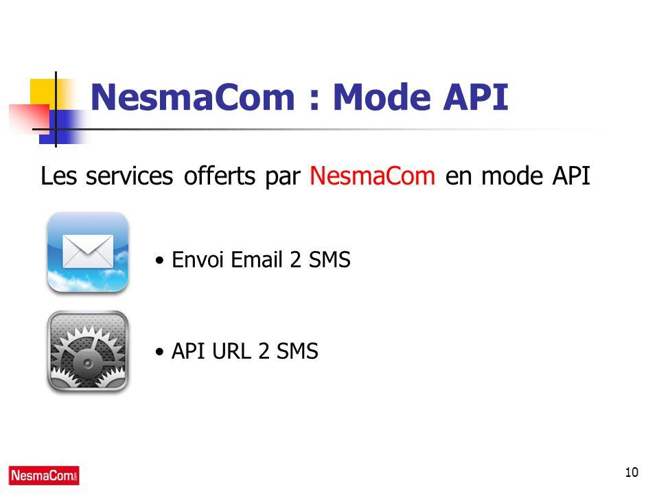 10 NesmaCom : Mode API Les services offerts par NesmaCom en mode API Envoi Email 2 SMS API URL 2 SMS