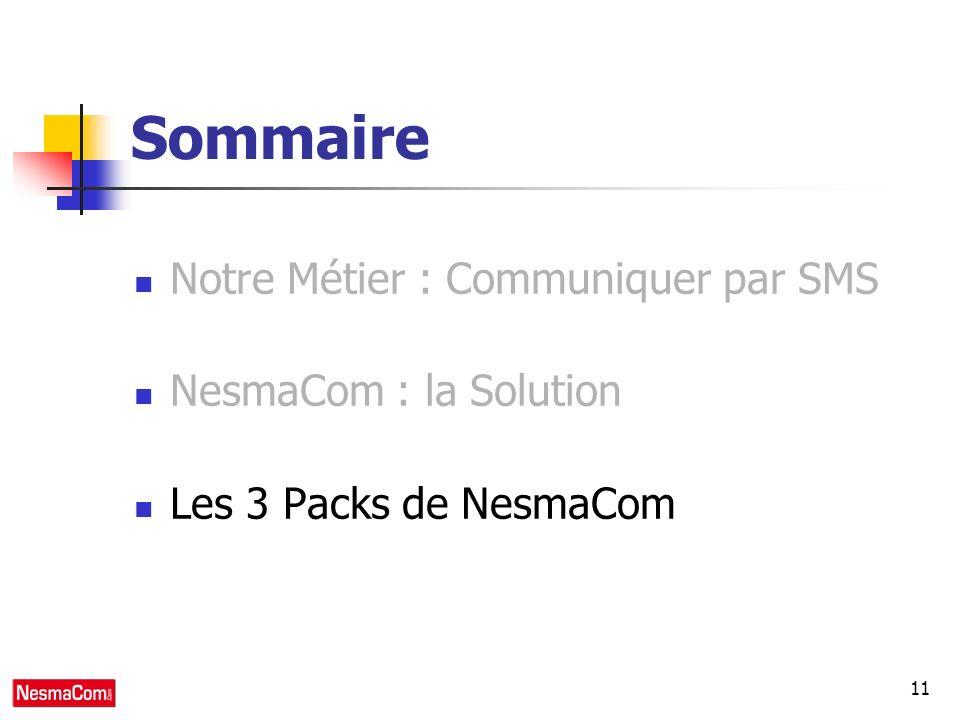 11 Sommaire Notre Métier : Communiquer par SMS NesmaCom : la Solution Les 3 Packs de NesmaCom