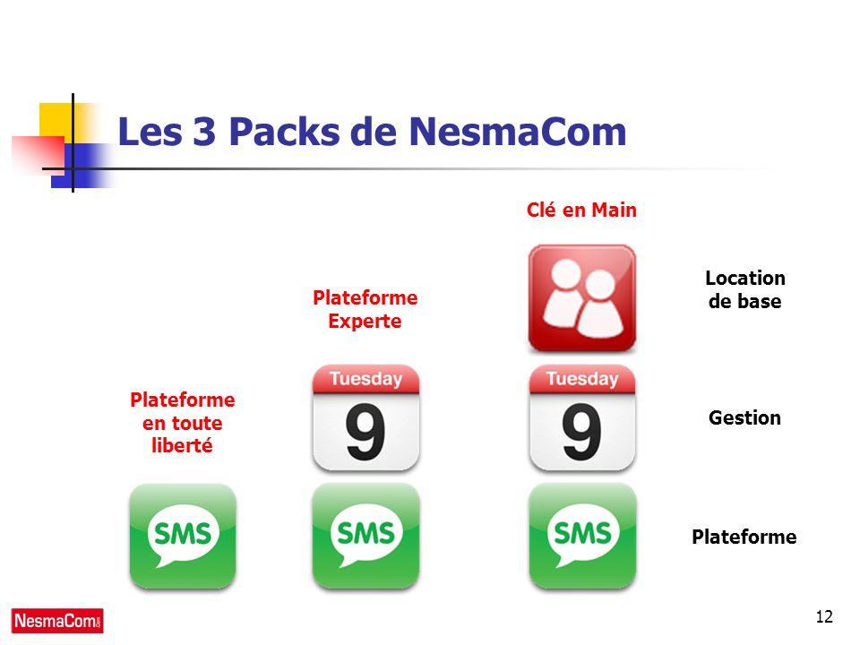 12 Les 3 Packs de NesmaCom Plateforme Gestion Location de base Plateforme en toute liberté Plateforme Experte Clé en Main