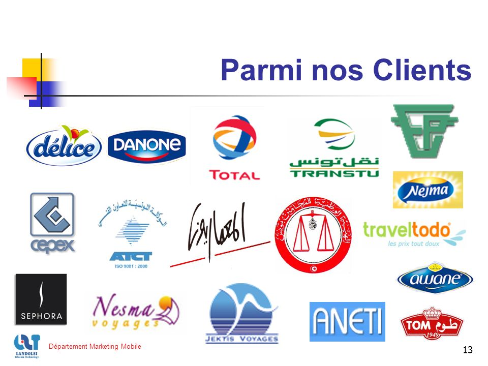 13 Parmi nos Clients Département Marketing Mobile