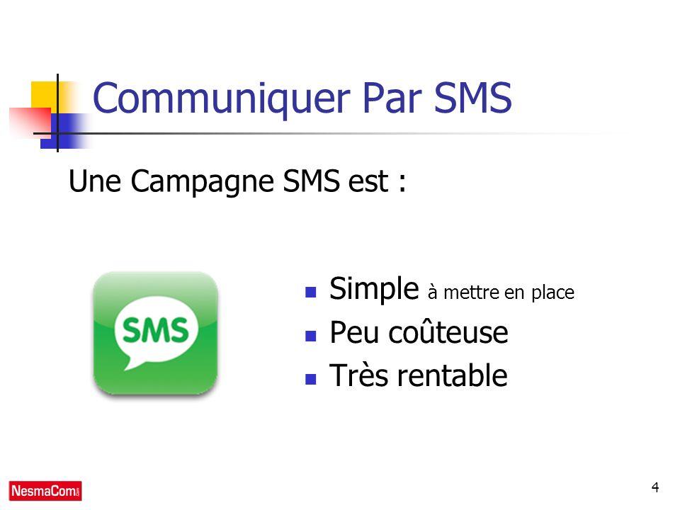 4 Communiquer Par SMS Simple à mettre en place Peu coûteuse Très rentable Une Campagne SMS est :