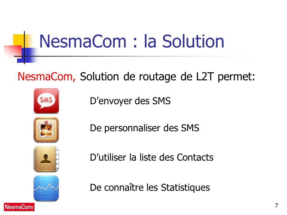 7 NesmaCom : la Solution NesmaCom, Solution de routage de L2T permet: Denvoyer des SMS De personnaliser des SMS Dutiliser la liste des Contacts De connaître les Statistiques