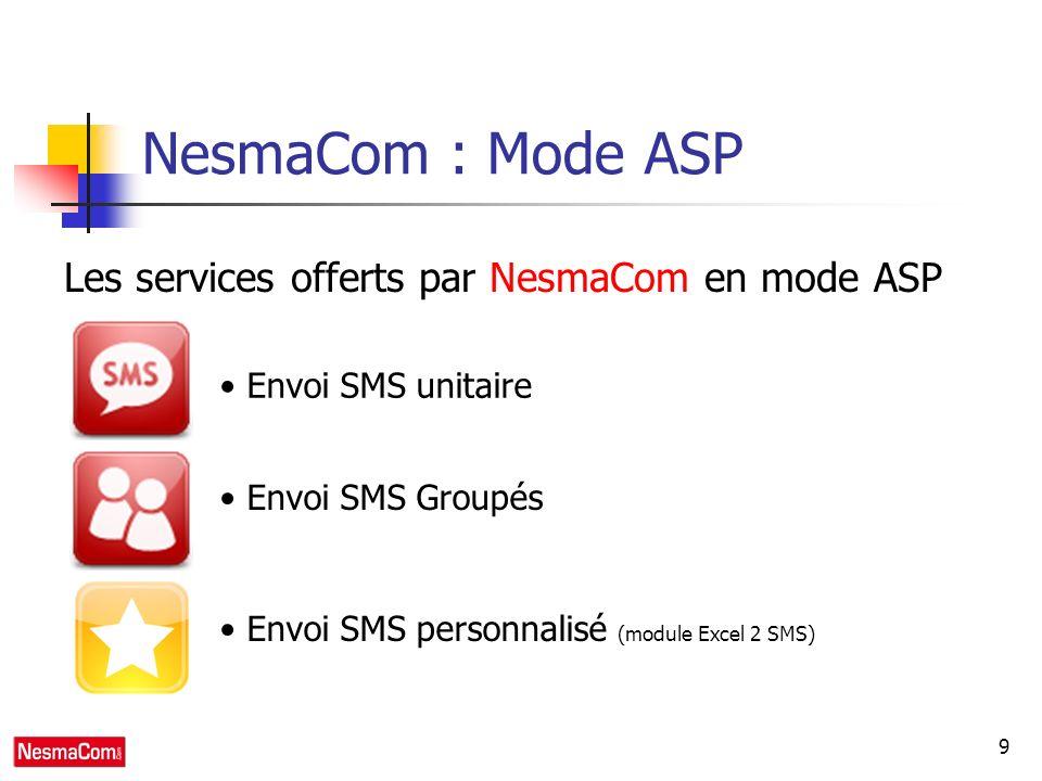 9 NesmaCom : Mode ASP Les services offerts par NesmaCom en mode ASP Envoi SMS unitaire Envoi SMS Groupés Envoi SMS personnalisé (module Excel 2 SMS)