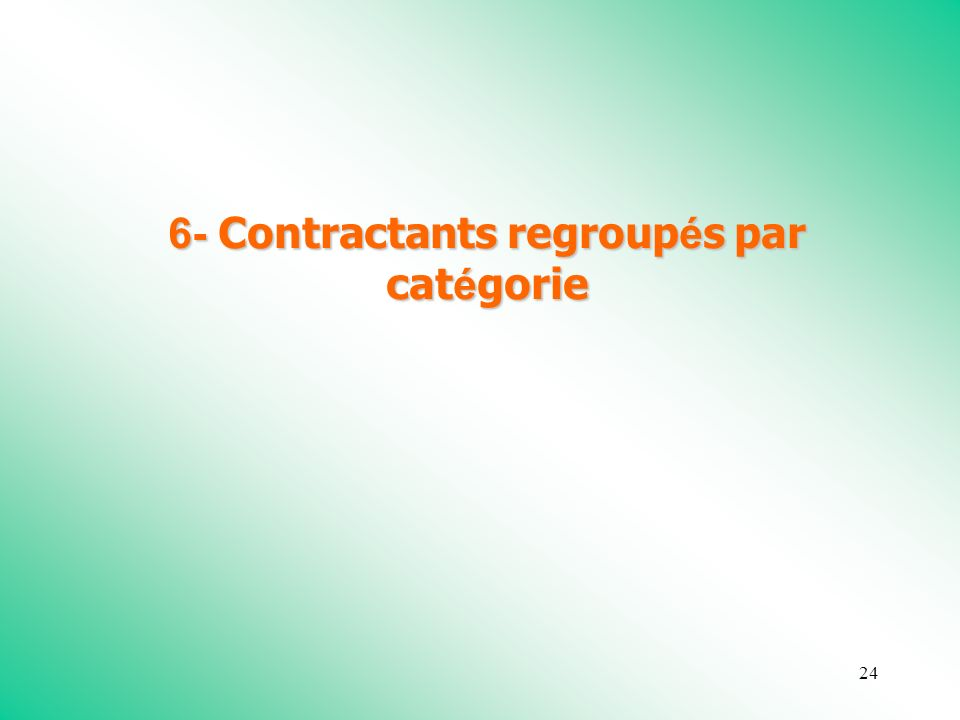 24 6- Contractants regroup é s par cat é gorie