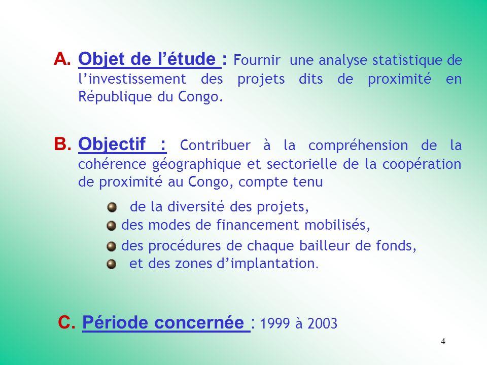 4 A.Objet de létude : Fournir une analyse statistique de linvestissement des projets dits de proximité en République du Congo.