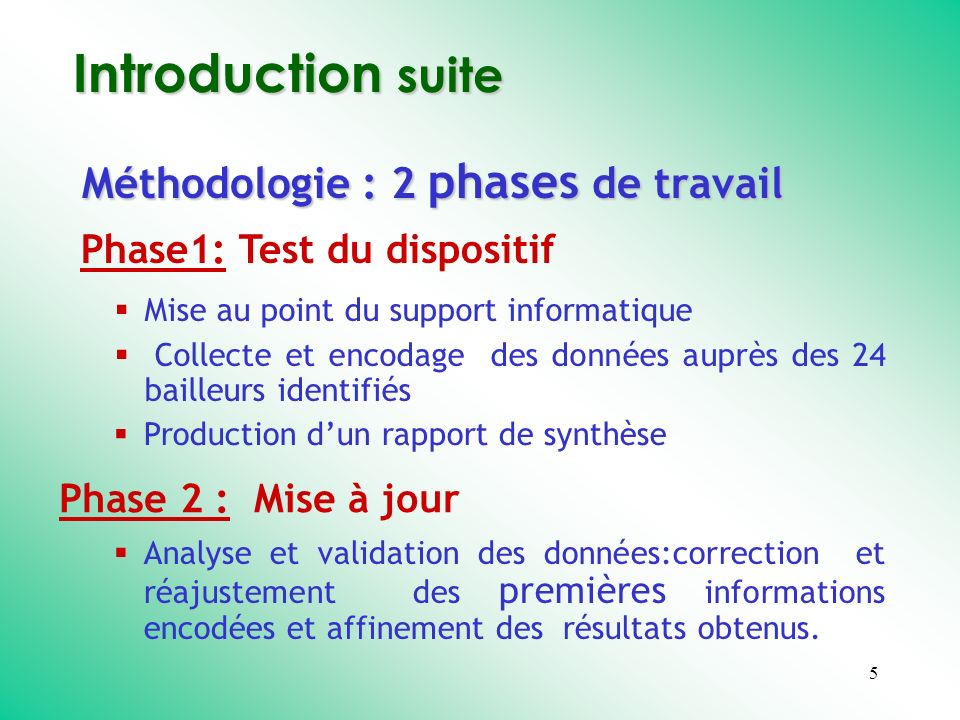 5 Introduction suite Méthodologie : 2 phases de travail Phase1: Test du dispositif Phase 2 : Mise à jour Mise au point du support informatique Collect