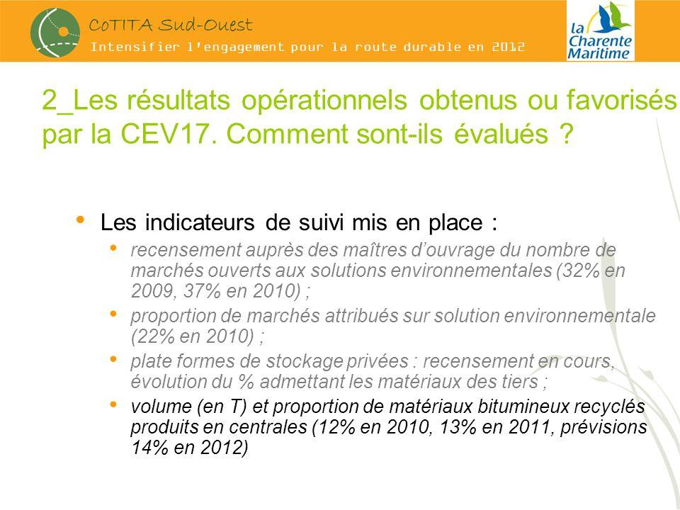 Intensifier l engagement pour la route durable en 2012 2_Les résultats opérationnels obtenus ou favorisés par la CEV17.