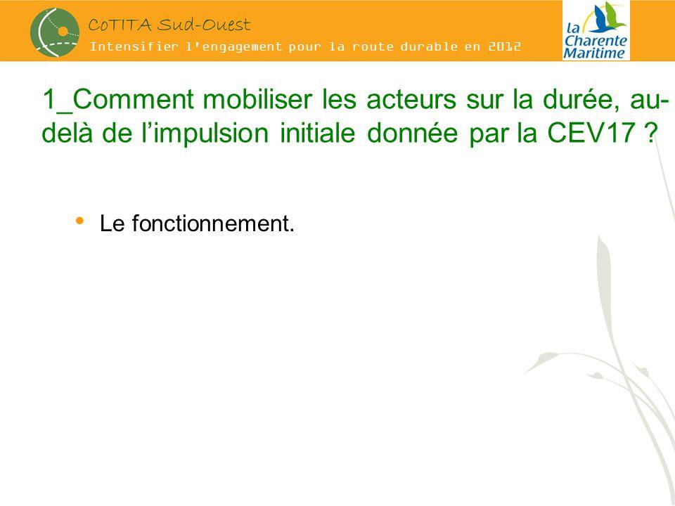 Intensifier l engagement pour la route durable en 2012 1_Comment mobiliser les acteurs sur la durée, au- delà de limpulsion initiale donnée par la CEV17 .