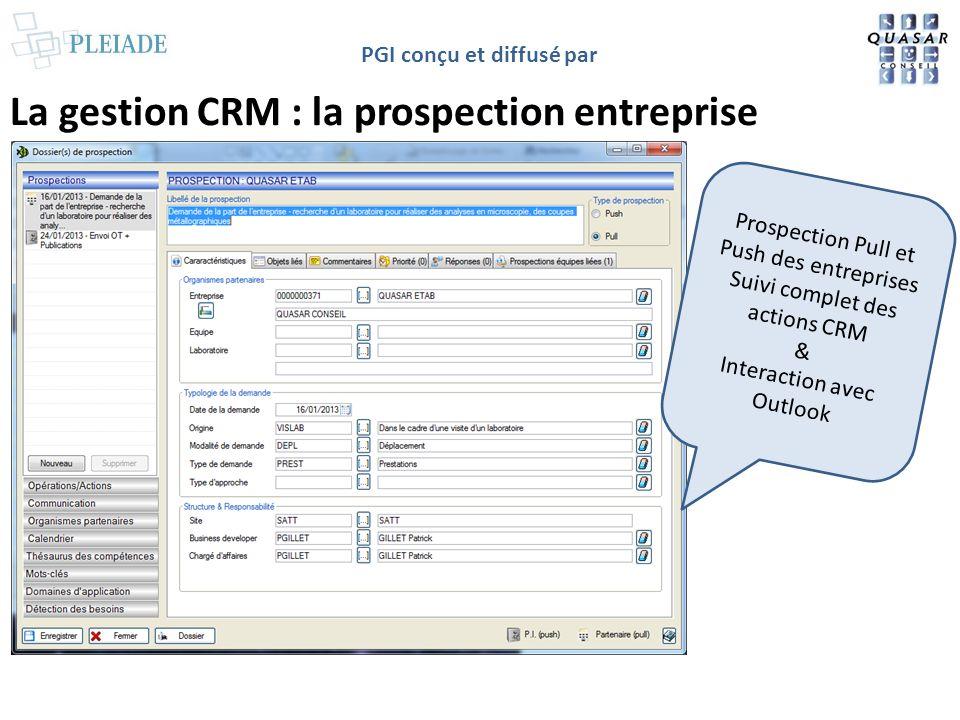 PGI conçu et diffusé par La gestion CRM : la prospection entreprise Prospection Pull et Push des entreprises Suivi complet des actions CRM & Interacti