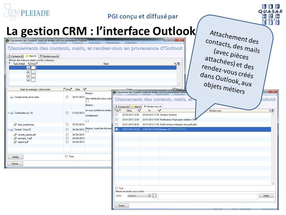 PGI conçu et diffusé par La gestion CRM : linterface Outlook Attachement des contacts, des mails (avec pièces attachées) et des rendez-vous créés dans