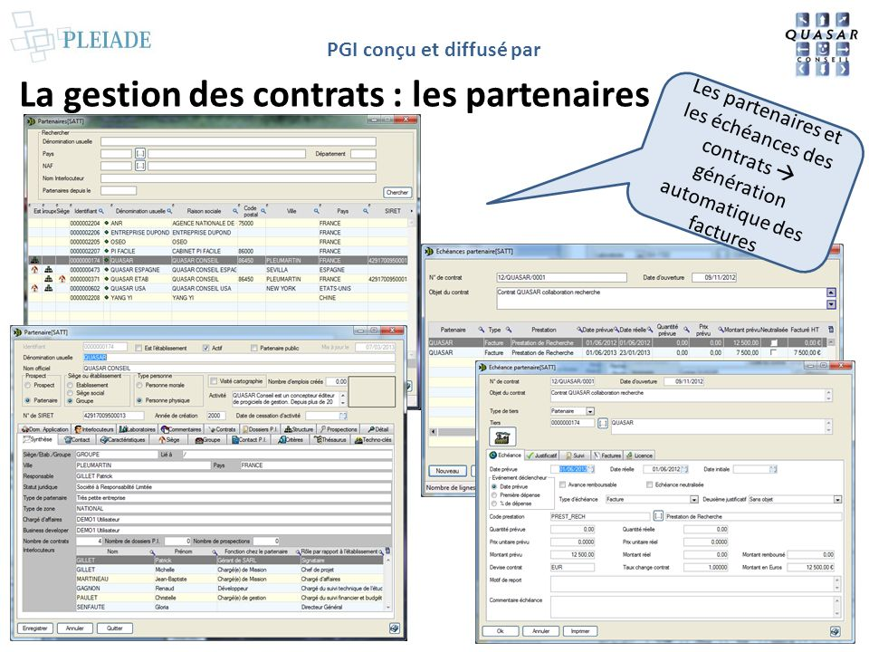 PGI conçu et diffusé par La gestion des publications Gestion paramétrable des publications et liens avec les contrats et les dossiers PI