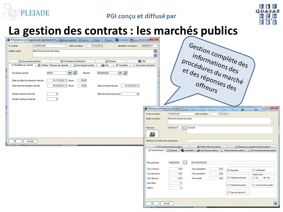 PGI conçu et diffusé par La gestion des contrats : les publications liées Gestion des publications liées au contrat avec accès à la fiche de la publication et à la publication dématérialisée par le « + »
