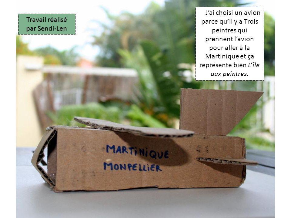 Jai choisi un avion parce quil y a Trois peintres qui prennent lavion pour aller à la Martinique et ça représente bien Lîle aux peintres.
