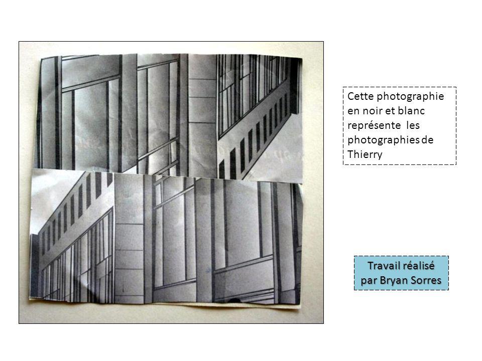 Cette photographie en noir et blanc représente les photographies de Thierry Travail réalisé par Bryan Sorres