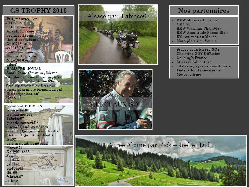 MERCI AUX GOs Alsace par Fabrice67 GS TROPHY 2013 Virée Alpine par Rick – Joël et Did -Ptit_maurice 1er -JLD67 2éme -Juliob2 4éme -Anakin00 7éme -brel
