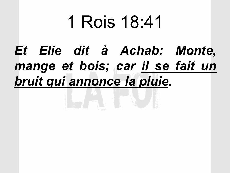 1 Rois 18:41 Et Elie dit à Achab: Monte, mange et bois; car il se fait un bruit qui annonce la pluie.