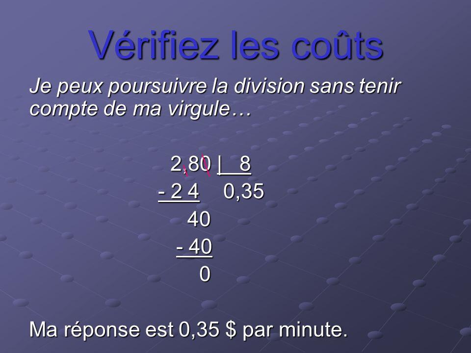 Vérifiez les coûts Je peux poursuivre la division sans tenir compte de ma virgule… 2,80 | 8 - 2 4 0,35 - 2 4 0,35 40 40 - 40 - 40 0 Ma réponse est 0,3