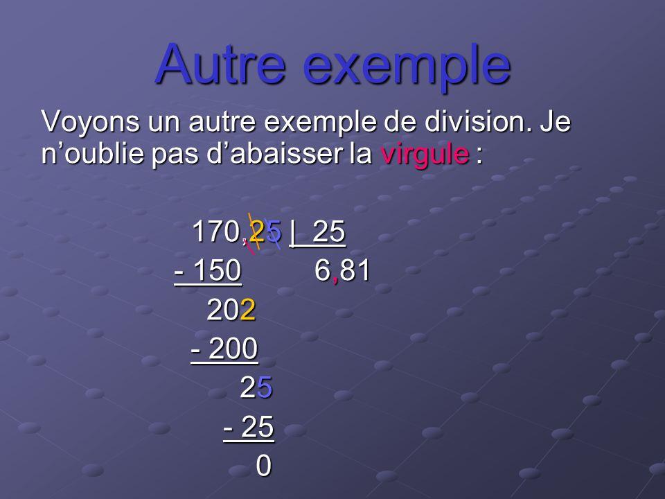 Autre exemple Voyons un autre exemple de division. Je noublie pas dabaisser la virgule : 170,25 | 25 170,25 | 25 - 150 6,81 202 202 - 200 - 200 25 25