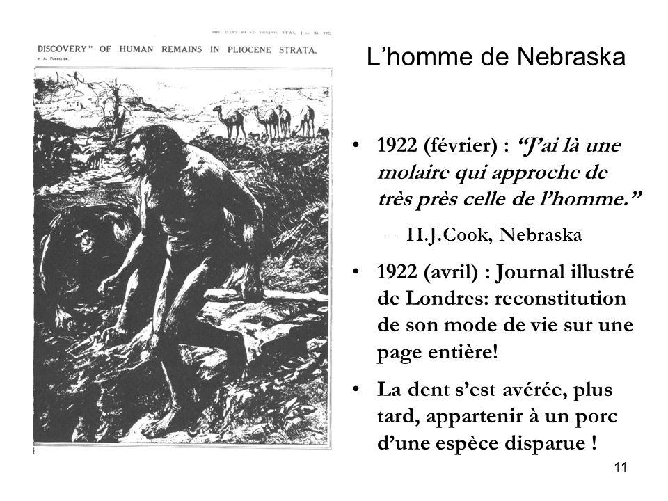 11 Lhomme de Nebraska 1922 (février) : Jai là une molaire qui approche de très près celle de lhomme. –H.J.Cook, Nebraska 1922 (avril) : Journal illust