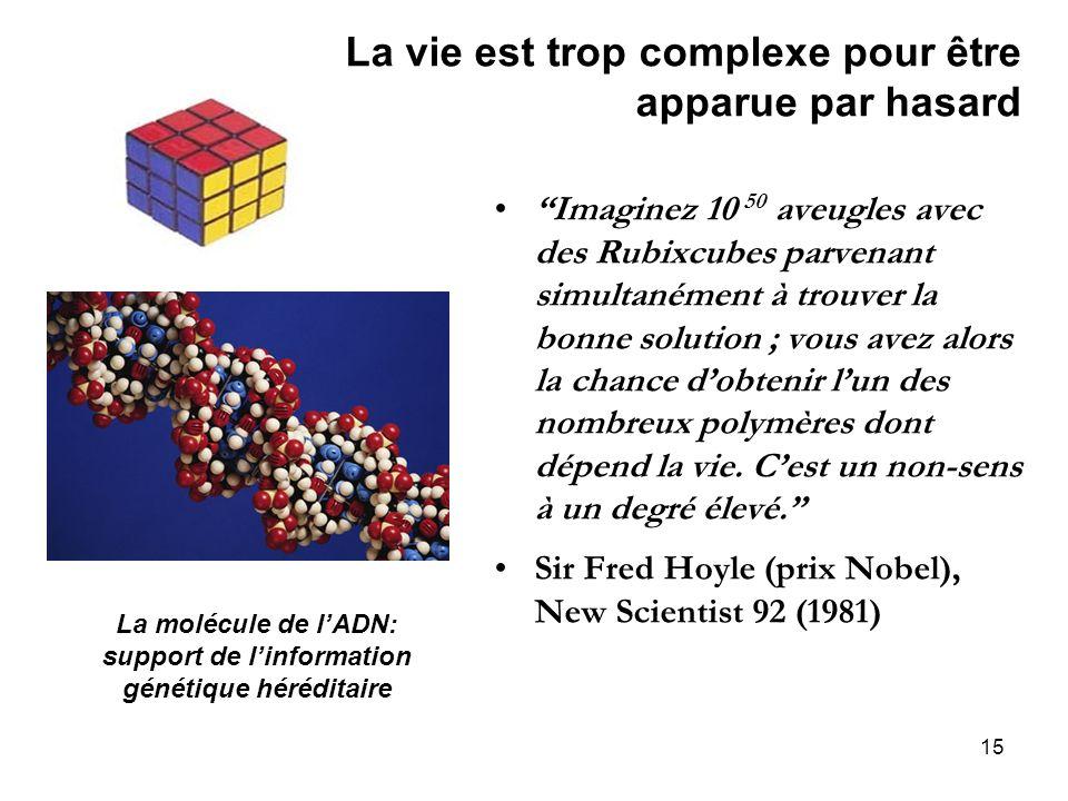 15 La vie est trop complexe pour être apparue par hasard Imaginez 10 50 aveugles avec des Rubixcubes parvenant simultanément à trouver la bonne soluti