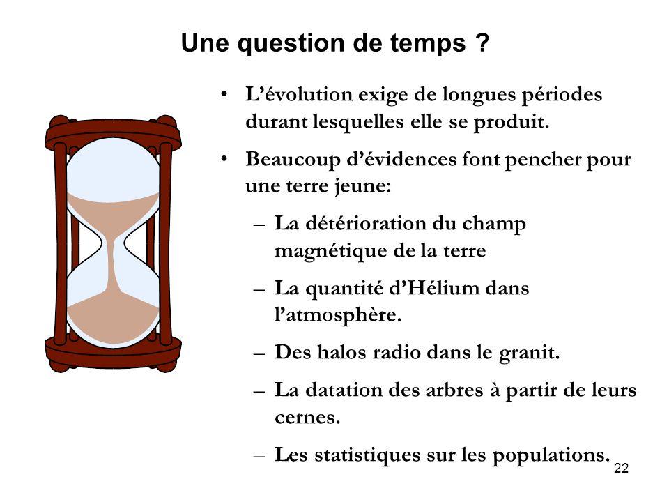 22 Une question de temps ? Lévolution exige de longues périodes durant lesquelles elle se produit. Beaucoup dévidences font pencher pour une terre jeu