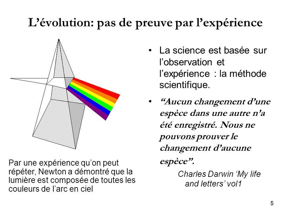 5 Lévolution: pas de preuve par lexpérience La science est basée sur lobservation et lexpérience : la méthode scientifique. Aucun changement dune espè