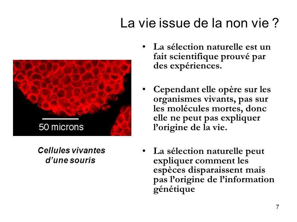 7 La vie issue de la non vie ? La sélection naturelle est un fait scientifique prouvé par des expériences. Cependant elle opère sur les organismes viv