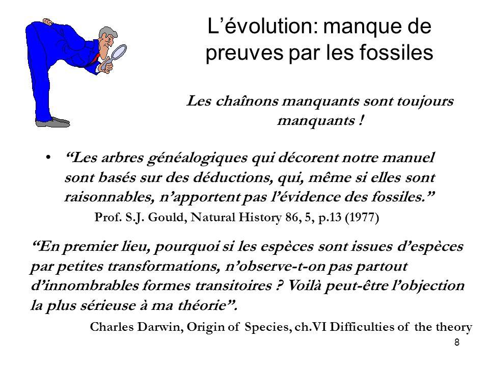 8 Lévolution: manque de preuves par les fossiles Les chaînons manquants sont toujours manquants ! Les arbres généalogiques qui décorent notre manuel s