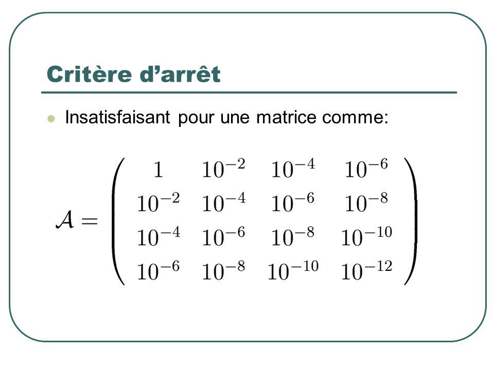 Insatisfaisant pour une matrice comme: