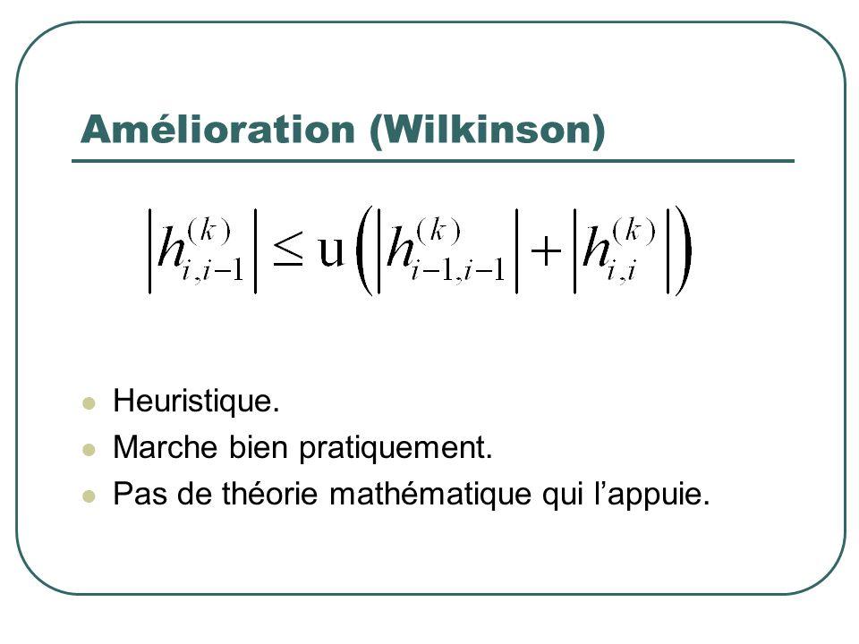 Amélioration (Wilkinson) Heuristique. Marche bien pratiquement.