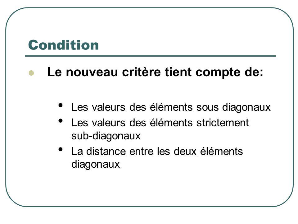 Condition Le nouveau critère tient compte de: Les valeurs des éléments sous diagonaux Les valeurs des éléments strictement sub-diagonaux La distance entre les deux éléments diagonaux