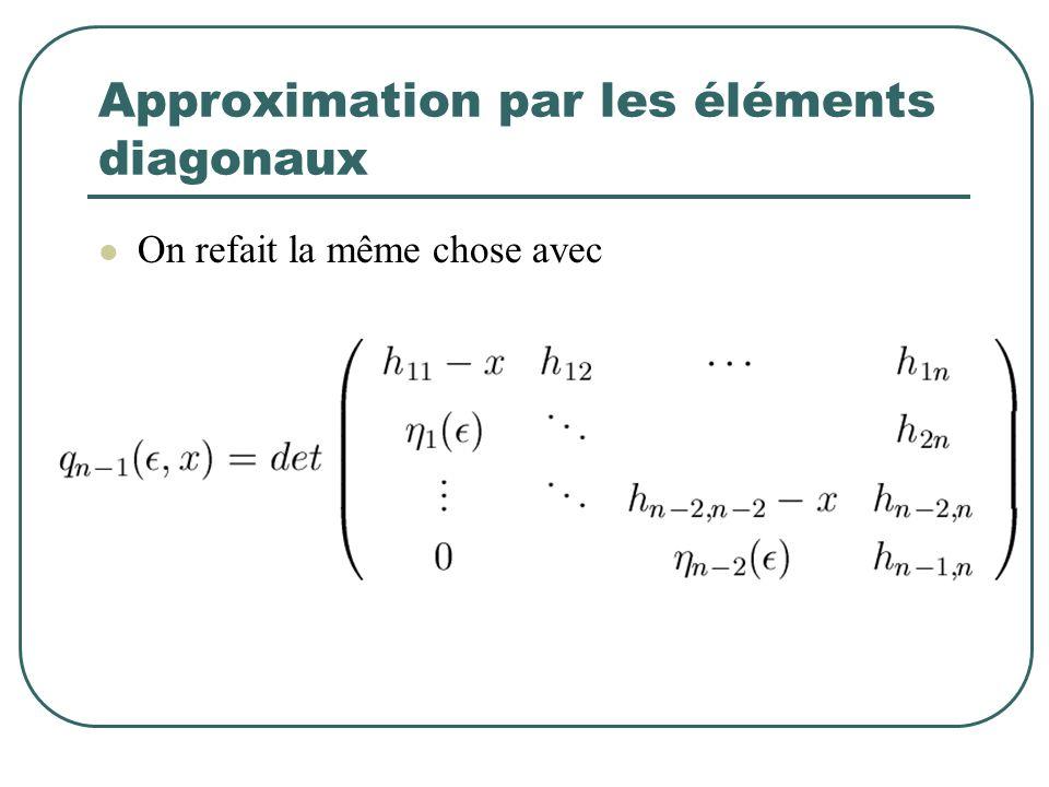 Approximation par les éléments diagonaux On refait la même chose avec