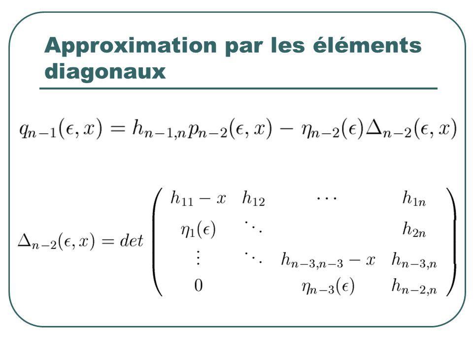 Approximation par les éléments diagonaux
