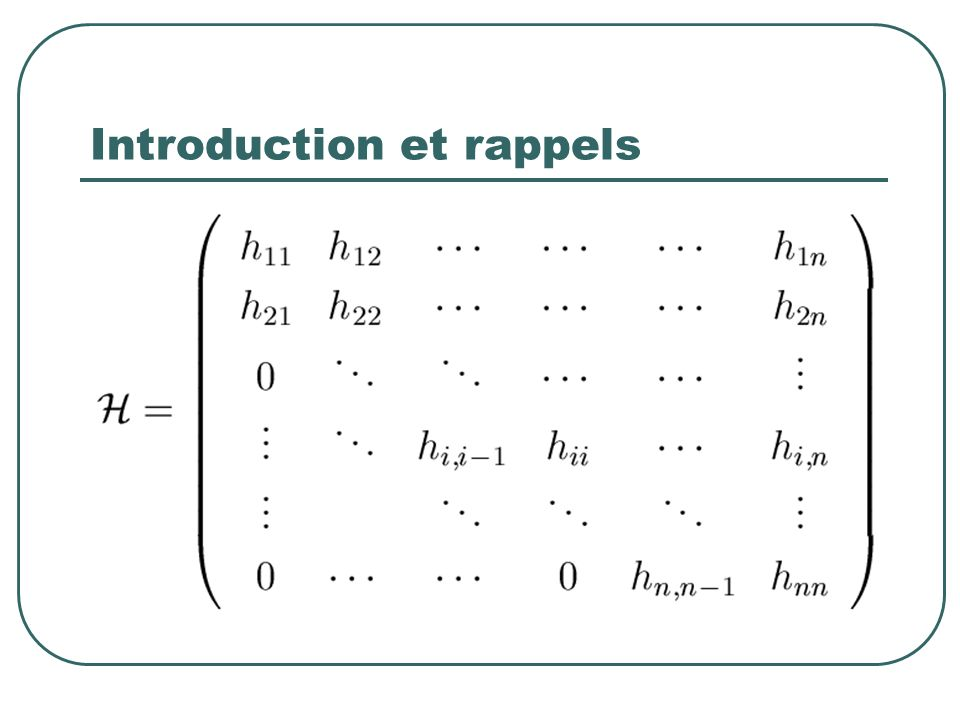 Introduction et rappels