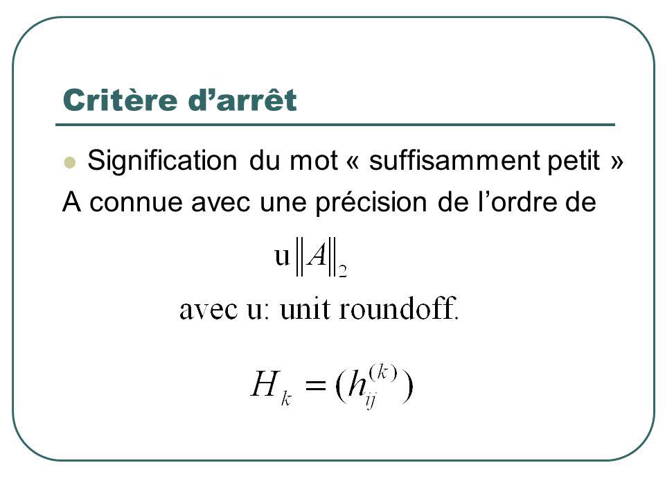 Critère darrêt Signification du mot « suffisamment petit » A connue avec une précision de lordre de