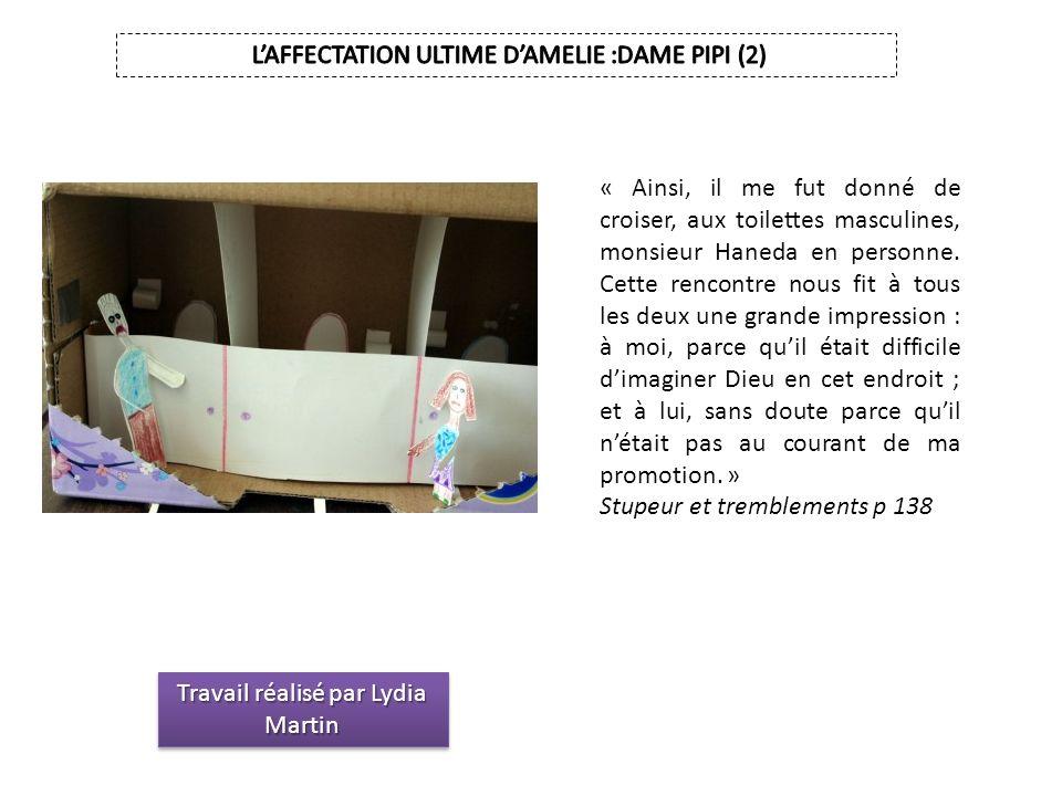 Travail réalisé par Lydia Martin « Ainsi, il me fut donné de croiser, aux toilettes masculines, monsieur Haneda en personne. Cette rencontre nous fit