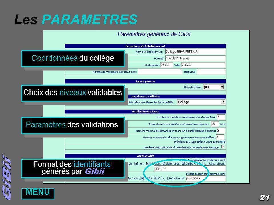 21 Les PARAMETRES Coordonnées du collège Choix des niveaux validables Paramètres des validations Format des identifiants générés par Gibii Format des