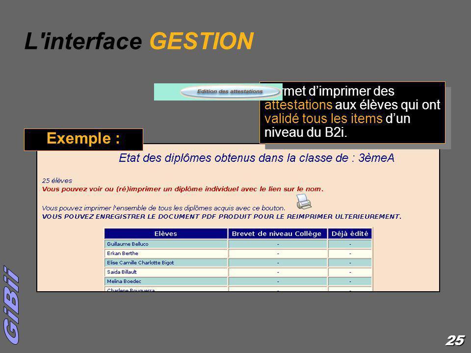 25 L'interface GESTION permet dimprimer des attestations aux élèves qui ont validé tous les items dun niveau du B2i. Exemple :
