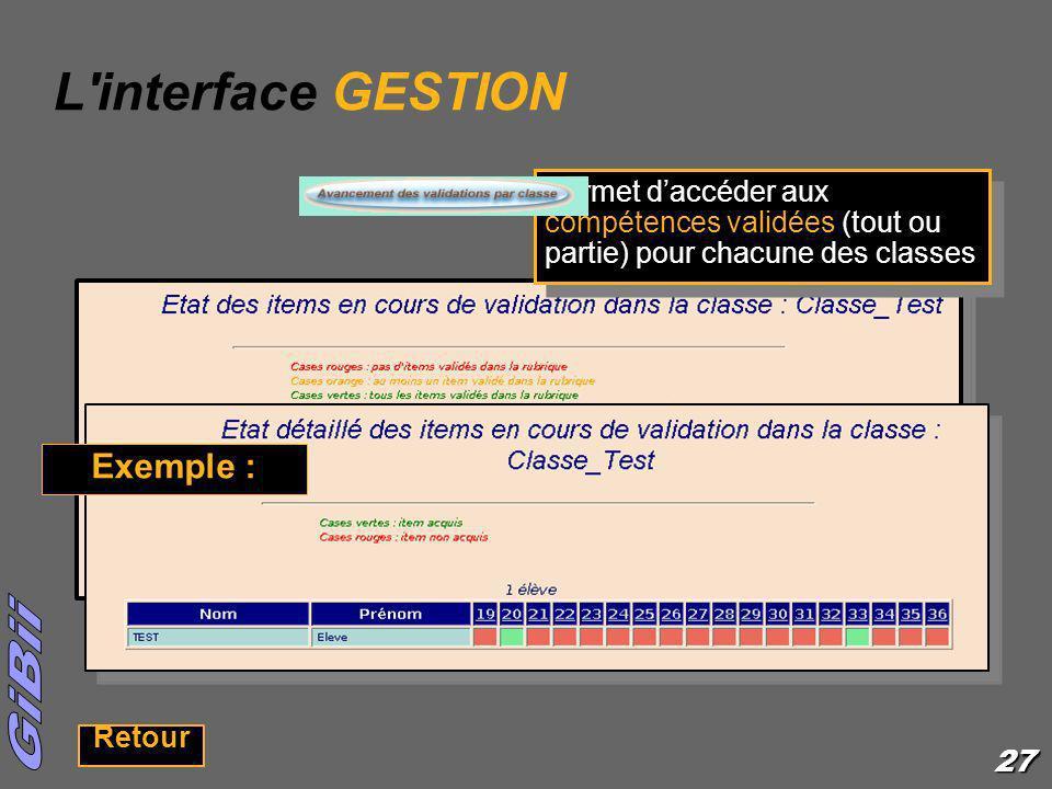27 L'interface GESTION Permet daccéder aux compétences validées (tout ou partie) pour chacune des classes Retour Exemple :
