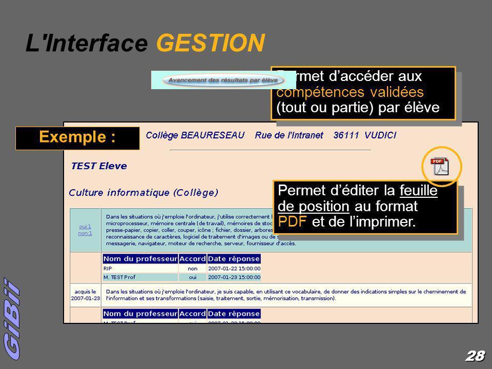28 Permet daccéder aux compétences validées (tout ou partie) par élève L'Interface GESTION Exemple : Permet déditer la feuille de position au format P
