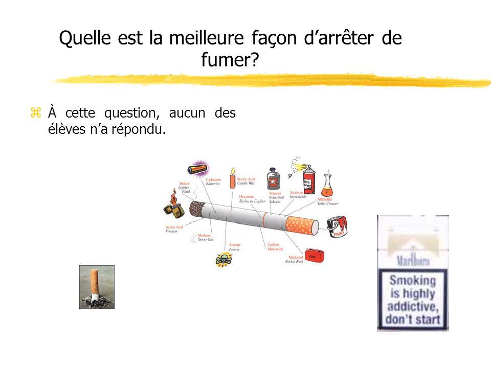 Quelle est la meilleure façon darrêter de fumer? zÀ cette question, aucun des élèves na répondu.