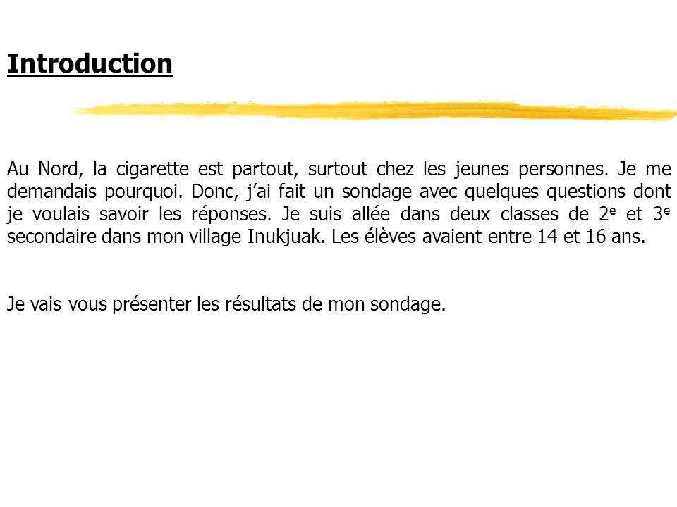 Introduction Au Nord, la cigarette est partout, surtout chez les jeunes personnes. Je me demandais pourquoi. Donc, jai fait un sondage avec quelques q