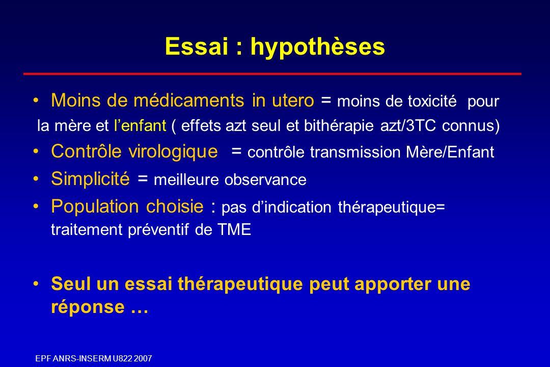 EPF ANRS-INSERM U822 2007 Essai : hypothèses Moins de médicaments in utero = moins de toxicité pour la mère et lenfant ( effets azt seul et bithérapie